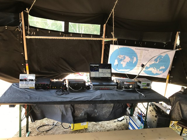 Ground Station Board in tent